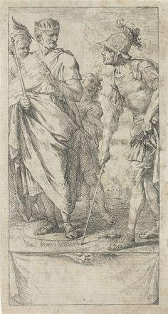 Jan Miel | Popilius Laenas tekent een cirkel, Jan Miel, 1633 - 1664 | Romeins consul Popilius Laenas tekent een cirkel in het zand om de voeten van koning Antiochus IV Epiphanes. Popilius vroeg de koning hem een antwoord te geven op de vraag of zijn veroverde gebieden aan Rome zou teruggeven voor hij de cirkel zou verlaten.