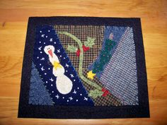 Wool Crazy Candle Mat-wool,crazy,quilt,candle,mats,hand,stitched,snowman,christmas,tree,holly,berries,fabrics