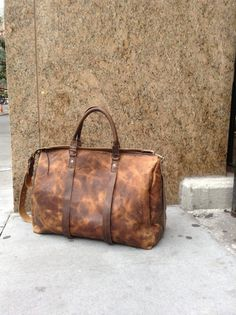 Hand luggage - extra large leather carry all leather holdall - handmade leather traveling bag by Aixa