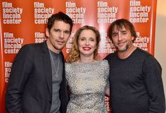 (L-R) Ethan Hawke, Julie Delpy, and Richard Linklater attend Before Midnight during the 2013 Film Society Of Lincoln Center Summer Talks at the Elinor Bunin Munroe Film Center on May 16, 2013 in New York City.