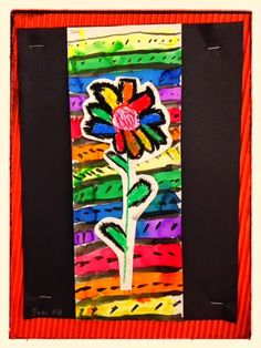 PARK ART SMARTIES, Kindergarten Rainbow Flowers over line paintings, watercolor, oil pastels