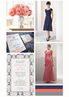 Coral, navy and grey wedding inspiration board