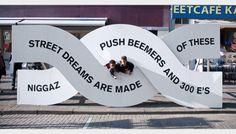 Dark Side of Typography — (via De Wereld van Witte de With Street Sculptures. Environmental Graphic Design, Environmental Graphics, Wayfinding Signage, Signage Design, Banner Design, Protest Signs, Exhibition Display, Exhibition Stands, Up Book