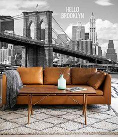 Vlies fotobehang Brooklyn Bridge Zwart Wit met tekst - Zwart wit behang | Muurmode.nl