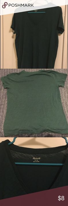 Madewell V-Neck Tee Beautiful hunter green v neck! Has been worn but in great condition with lots of life left. Perfect for a Tee and jeans outfit- for an easy, casual look! Madewell Tops Tees - Short Sleeve