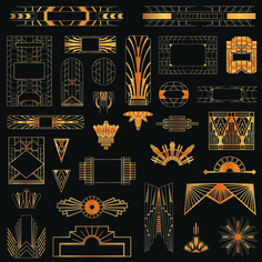 Free Golden art ornament elements vector 02 ~ Art Deco Frames and Borders