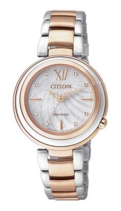 Citizen Eco-Drive Mother of Pearl Dial Two Tone Stainless Steel Watch# (Women Watch) Citizen Eco, Mens Watches Online, Watches For Men, Wrist Watches, Trendy Watches, Men's Watches, Datejust Rolex, Elegant Watches, Watch Sale