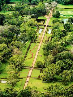 The gardens at Sigiriya in Sri Lanka