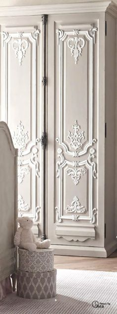 How pretty!!!!!!! French Inspired doors can be created with the right mouldings, appliqués, and castings. Paint brings it all together. www.thefrenchprop…