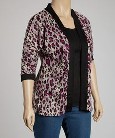 Take a look at this Black & Pink Cheetah Layered Top - Plus by Yummy on #zulily today!