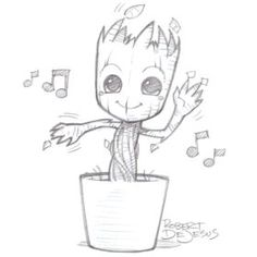 Baby Groot Beautiful Image Drawing