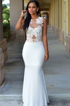 White+Crochet+Mesh+Accent+Sleeveless+Mermaid+Party+Dress+#White+#Dress+#maykool