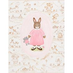 Toffee Toile Bunny Wall Art