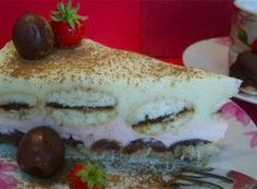 Nepečený dortík s třešněmi a piškoty