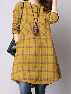 Women Checked Long Sleeve Plaid Grid Loose Casual Dresses The most beautiful and newest outfit ideas Robes Vintage, Vintage Dresses, Kurta Designs, Blouse Designs, Plaid Dress, Shirt Dress, Hijab Fashion, Fashion Dresses, Mode Hijab