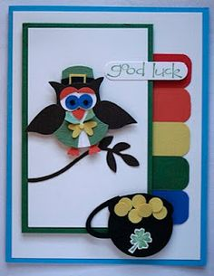 My Leprechaun Owl Punch Art from 2011!  loved this guy.  Time to design another!  Here is my original blog post with info on how to make one of your own!  http://scrapingandstamping.blogspot.com/2011/03/leprechaun-punch-art-owl.html