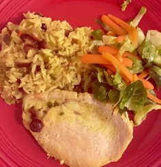 This is not a gourmet meal but it would make a great one dish camping meal.  In your cast iron Dutch oven or fry pan make a rice pilaf using Zatarain's yellow boxed rice (recipe on box) and adding dried cranberries, chopped or slivered almonds, celery and onion. Lay some turkey cutlets or chicken tenders  on top, cover and simmer until the rice is done and the meat is cooked.  Serve with some Brussels sprouts and carrots steamed in a foil packet and voila - a quick and easy camp dinner.