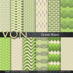 """Wave Digital Paper: """"VINTAGE GREEN WAVE"""" green background paper, beach, waves, ocean, sea waves, water, scrapbook paper, japan craft paper"""