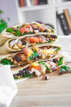 Veggie crunch wrap Sauteed Vegetables, Veggies, Beans And Barley, Recipe For 6, Crunch Wrap, Canned Black Beans, Tex Mex, Cherry Tomatoes, Lunch