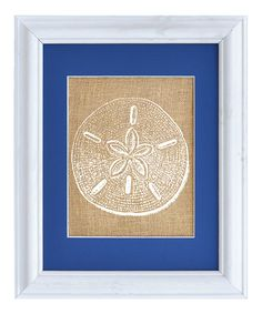 Look what I found on #zulily! Sand Dollar Framed Burlap Print by Fiber and Water #zulilyfinds