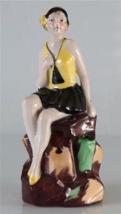 Figurine Baigneuse En Porcelaine Art Deco Souvenir Bord de Mer 18 | eBay