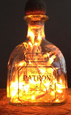 Golden Patron Bottle, lights inside bottle.