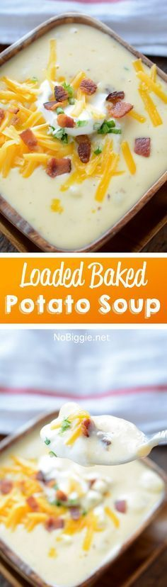 Everything you loved about a loaded baked potato. This recipe for loaded baked potato soup is so creamy and delicious! Crock Pot Recipes, Soup Recipes, Cooking Recipes, Hamburger Recipes, Skillet Recipes, Pizza Recipes, Potato Recipes, Recipies, Loaded Baked Potato Soup