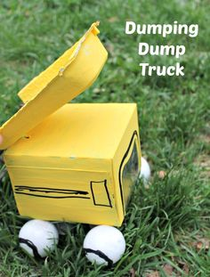 This  dump truck craft for kids is made from recycled materials - and it really works! It's a cool craft  and tons of fun to play with. from www.HowWeeLearn.com