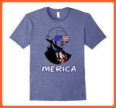 Mens  George Washington Merica American Flag 4th Of July Patriots 2XL Heather Blue - Holiday and seasonal shirts (*Partner-Link)