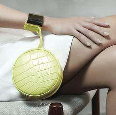 Maison PERRIN PARIS SS15 collection: Macaron yellow crocodile wrist clutch