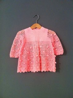 Vintage Crochet Rose Dress  6 - 12 months