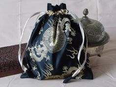 Chinese brocade drawstring bag black with by EcoTurtleUpcycling