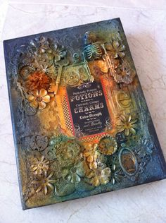altered Tim Holtz configuration book box and mini using Steampunk spells Graphic 45 paper