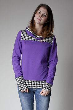 Sorted Clothing Sweatshirts - kuscheliger lila Sweater mit Hahnentrittmuster - ein Designerstück von sorted-clothing bei DaWanda hoodie sweater purple and black white houndstooth trui paars