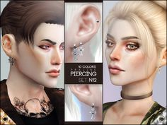 Piercings inspired by BTS' Jimin. Found in TSR Category 'Sims 4 Female Earrings'