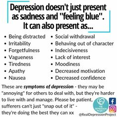 Many of these symptoms are overlooked as being related to depression. Remember, your mental health can have a much bigger impact than you may realize. Mental And Emotional Health, Mental Health Quotes, Mental Health Matters, Mental Illness Awareness, Depression Awareness, Mental Illness Symptoms, Understanding Depression, Understanding Anxiety, Depression Symptoms