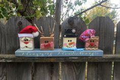 Santa and Pals- Christmas decor- Santa- Rudolph- Frosty- Gingerbread Man- Happy Holidays- Christmas Blocks