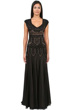 Sue Wong Cut Out Back Beaded Gown in Black/Nude