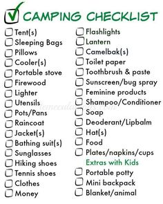 Going camping? Things to pack for camping and a free printable checklist so you remember all the things you\'ll need to make your trip more enjoyable. amzn.to/2nrto3b #campingchecklist #camping #outdoors