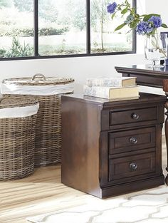 H697-12 traditional wood brown file drawer base