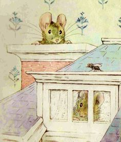 """'The Tale of Two Bad Mice', 1904 -- Beatrix Potter. """"Tom Thumb went up the kitchen chimney and looked out the top -- there was no soot."""""""