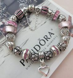 "Pink ""Language of Love"" ** Authentic Pandora Sterling Silver 925 ALE Bracelet with European Beads and Charms:"