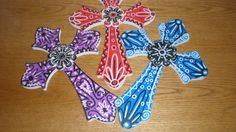 Crosses Wooden Folk Art- Set Of 3 LARGE 11 Inch Bandanna Kerchief Looking Hand-Painted Mexican Style-Triple Gift Idea. $24.95, via Etsy. Painted Wooden Crosses, Hand Painted, Kerchief, Mexican Style, Folk Art, Unique Jewelry, Handmade Gifts, Vintage, Etsy