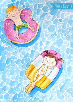 Illustration for youngsters: essentially the most stunning in summer time is bathing within the swimming pool or lake; finest with an inflatable donut or one thing related; Illustration: Doro Kaiser Illustration Youngsters obtain Art Drawings For Kids, Drawing For Kids, Cute Drawings, Art For Kids, Drawing Faces, Drawing Tips, Art And Illustration, Character Illustration, Portrait Illustration