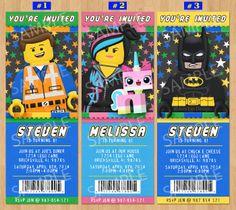 The Lego Movie Invites featuring Emmet, Wyldstyle, Unikitty & Batman!