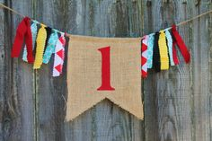 Items similar to Custom Burlap Banner, Birthday Bunting Banner, Vintage Circus Party Theme, Birthday Photo Prop on Etsy Birthday Bunting, Circus Birthday, First Birthday Parties, Birthday Party Themes, Boy Birthday, First Birthdays, Birthday Ideas, Vintage Circus Party, Circus Theme Party