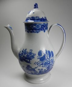 Blue Transferware Baluster Dome Lid Coffee Pot Horse Pattern Staffordshire