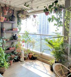 A Balcony Garden In Mumbai - Terrace Reveal Garden Garden apartment Garden ideas Garden small Small Balcony Design, Small Balcony Garden, Porch And Balcony, Balcony Plants, Garden Spaces, Terrace Garden, Balcony Bench, Balcony Gardening, Porch Roof