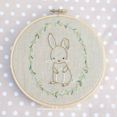 Little Bunny Hand Embroidery PDF Pattern  Instand by solipandishop