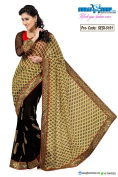 Style And Design And Pattern Could Be On The Peak Of Your Splendor After You Attire This Beige & Black Chiffon Saree. You Are Able To See Some Intriguing Patterns Performed With Block Print, Lace, Self Work. Paired With A Contrast Black & Red Art Silk, Net Blouse  Visit: http://surateshop.com/product-details.php?cid=2_26_66&pid=7479&mid=0